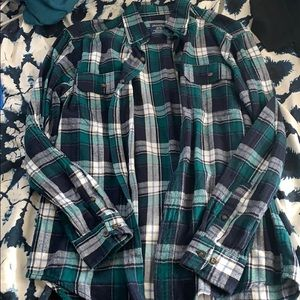 Green, navy, and white flannel